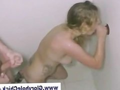 Gloryhole blonde gets cumshot after sucking cock