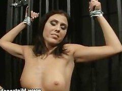 Lez domina prepares slave for punishment