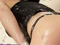 Nasty gloryhole fetish babe gets soaked
