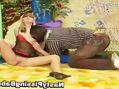 Blond whore blindfolded and sucking cock part4