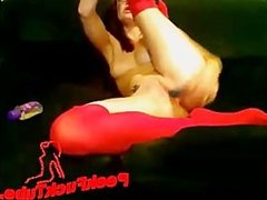 Girl with red stocking playing with dildo