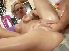 Blonde whore gets her tight pussy fisted part3