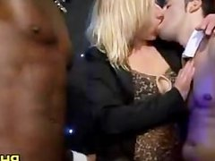 Drunk cheeks sucking dick in club