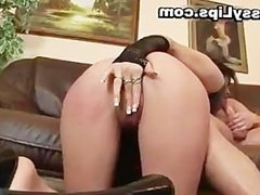 Slut with puffy pussy lips riding cock part6