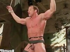 Muscled guy strung and hung gay BDSM part3