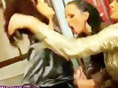 Bukkake loving lesbians use strapons