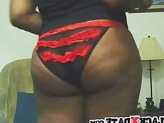 Black chick presents her round booty