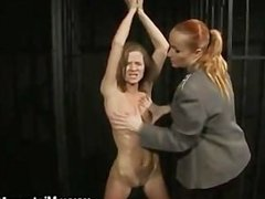 Roped lesbian slave enjoys punishment
