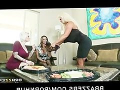 Big-boobed brunette MILFs share a big-dick in hardcore threesome