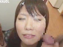 Japanese Housewife Takes Huge Bukkake Facials
