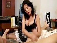 Maid Handjob Massive Cumshot