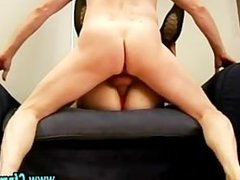Stockinged fetish slut fucks dick