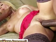 Mature couger interracial facial mmf threesome