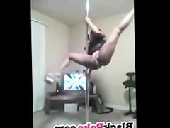 Hot black babe teasing and dancing pole