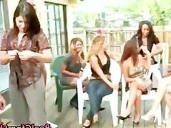 Cfnm group of babes watch slut