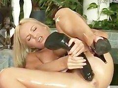 Hot Blond slutty babe working on a huge part6
