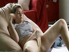 Lovely girl masturbate in the sofa