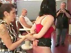 Struggling girl overpowered, suspended, bound