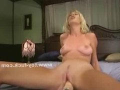 Blonde with pink panties spreads pussy
