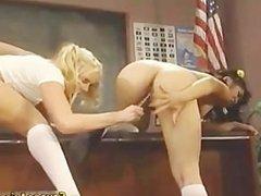 Asian slut sucking cock in threesome part4