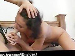 College lesbian babes strapon slamming part4