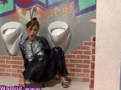 Bukkake slut hosed down