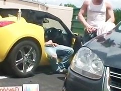 Blonde guy getting stinker banged in vehicle part6