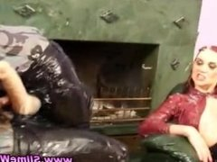 Lesbos drenched with fake cum