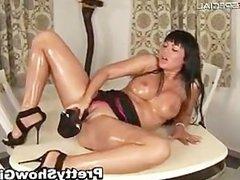 Busty slut working on a huge dildo part5