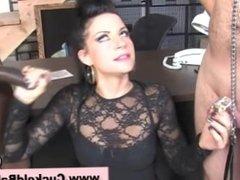 Humiliated femdom cuckold watches slut