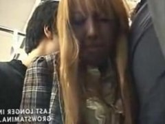 Japanese Lonely Girl on Train gets fuck by punks