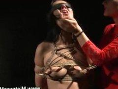 Lez dom queen punishing her roped slave