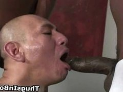 Bald guy sucking black cock and gets part3