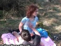 Anorexic redhead gets outdoor facial part6