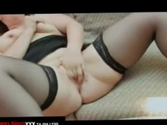 Busty Brunette Plays With Clit