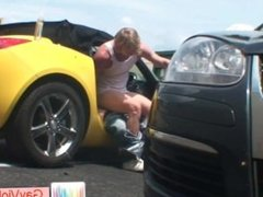 Blonde bro getting asshole hammered in vehicle part1