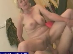 Ugly old granny enjoying a fresh dick