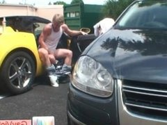 Blond buddy gets rectum fucked in car part2