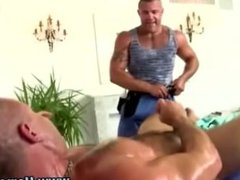 Muscley straight hunk turns gay