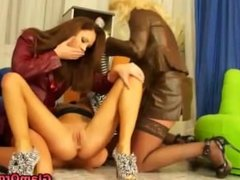 Real european lesbians lick and finger pussies in threesome