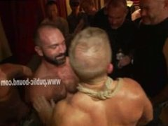 Strong men gather in club to taste body of strong new sex slave f
