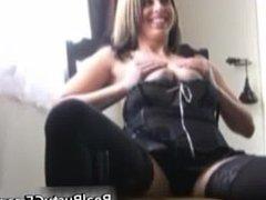Busty amateur in erotic black lingerie part2