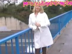 Wife In Black Tights Pantyhose Flashing On A Busy Motorway Bridge