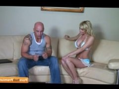 Tall Blonde milf gets the job done herself