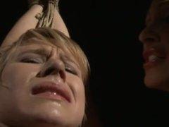Captured roped slave slowly punished