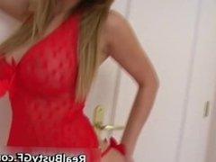 Busty blonde gf in red panties part4