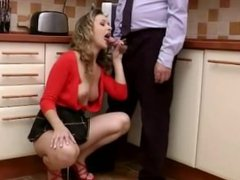 Slutty amateur euro schoolgirl sucks cock