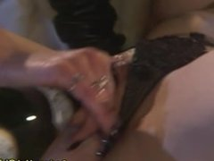 Hot Lesbian Masturbate and Insert Bottle on Her Pussy