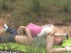 Horny australian blonde slut gets fucked