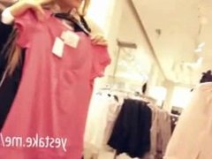 Stunning blonde paid for sucking and fucking in dressing room